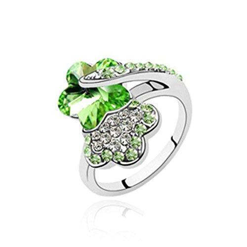 Epinki Damen Ringe, Edelstahl Damenringe Pflaume Blumen Form Verlobungsringe Solitärring Eheringe Olive mit Zirkonia Gr.53 (Kostüm König Indischen)