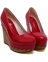 Xianshu Damen Pailletten Keile Einzigen Fisch Mund Aufzug Plattform Schuhe Heels(Schwarz-38) g04aq1Rx