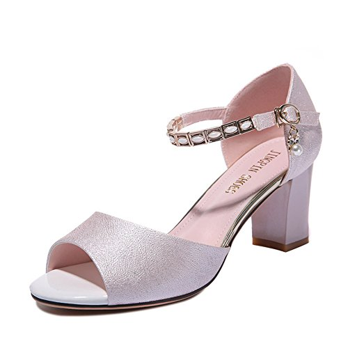 Damen Sommer Peep Toe Schuhe, Leichtgewicht Atmungsaktiv Anti-Rutsche Blockabsatz Strass Schnalle Pink