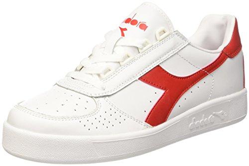 Diadora Herren B. Elite Sneakers, Elfenbein (Bianco/Rosso Ferrari Italia), 44 EU (Sportswear Elite)