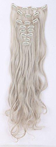(S-noilite® 8 teiliges Set Clip in Hair Extensions Haarverlängerung Haarteile Haarverdichtung Gewellt Gelockt Lockig Vollen Kopf Perücke ( 60cm, Graublond mix Silbergrau))