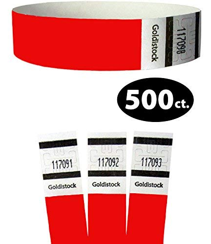 Goldistock Original Series - 3/10,2 cm Tyvek Wristbands fiery neon rosso - Event identificazione fasce (Paper - like texture) #10-500 Ct.