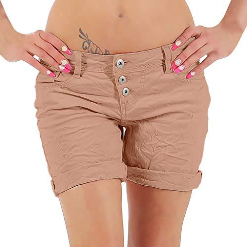 Damen Hosen Sommer Elegant LHWY Frauen Mode Kurze Hose Capri Hosen Beiläufige Chino Hosen Knielange Shorts Slim Sport Jeans (S, Rosa)