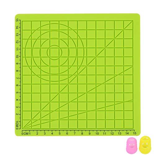 Yardwe 3D-Druckstift Silikonmatte Kinder Zeichnungsvorlage Pad mit 2 Stück zufällige Farbe Fingerabdeckungen - Typ A (grün)