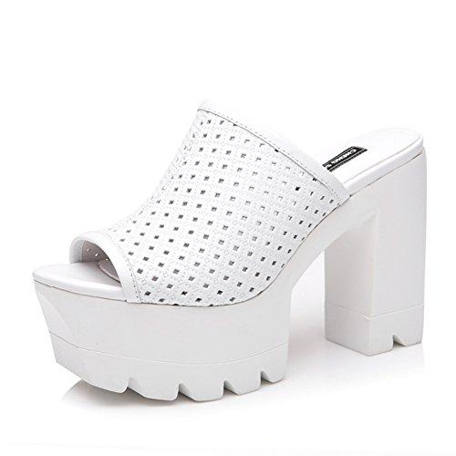 Leder high heels fersen/Dicke untere dame pantoffeln/Modebekleidung schuhe A