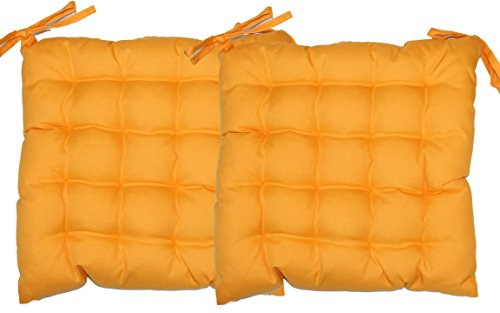 Bada Bing 2er Set Sitzkissen gelb (orange) Stuhlkissen 40 x 40 Outdoor Kissen Trend Garten