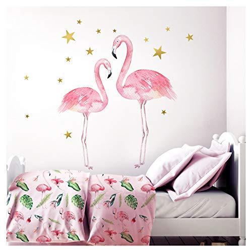 Little Deco Kinderzimmer Aufkleber Mädchen 2 Flamingos I 82 x 53 cm (BxH) I Deko Wandaufkleber Babyzimmer Wandsticker Kinder Wandtattoo Babys Tiere DL207-19 -