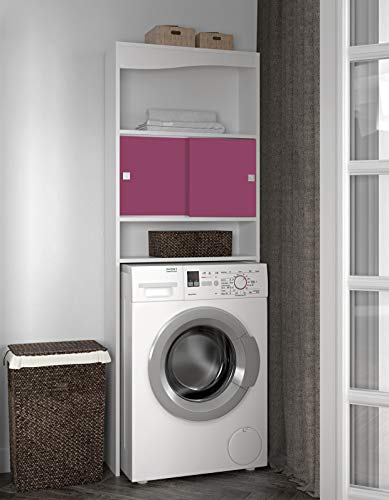 Symbiosis Badschrank, Überschrank für WC oder Waschmaschine, Körper in Weiß, Front in Fuchsia/ 6090A2136A17 -