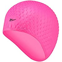 ENCOCO - Gorro de natación de silicona con gota de agua de partículas y cubierta impermeable para natación, rosa