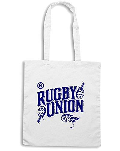 T-Shirtshock - Borsa Shopping TRUG0072 ruggershirts rugby union logo Bianco