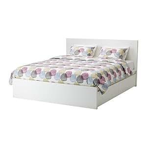 IKEA MALM - cadre de lit avec des boîtes de stockage, 4 blanc, Lurøy
