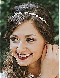 Deniferymakeup Diadema de novia con cristales y perlas para novia, accesorio para el pelo, accesorio para novia, novia, novia