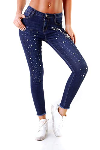 OSAB-Fashion Damen Jeans Hose Damenjeans Röhrenjeans Slimfit Perlen-Applikationen Knöpfe
