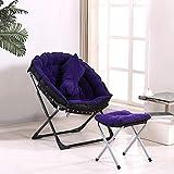 Zcxbhd Mond Stil Stuhl Zusammenfalten Falten Gepolstert 3-teiliges Set Stuhl + hocker + Kissen zum Camping Familie Geschenk (Farbe : Purple)