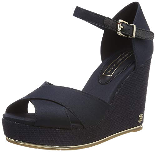 Tommy Hilfiger Damen Feminine Wedge Sandal Basic Plateausandalen, Blau (Midnight 403), 40 EU - Sandalen Frauen Wedges Schuhe