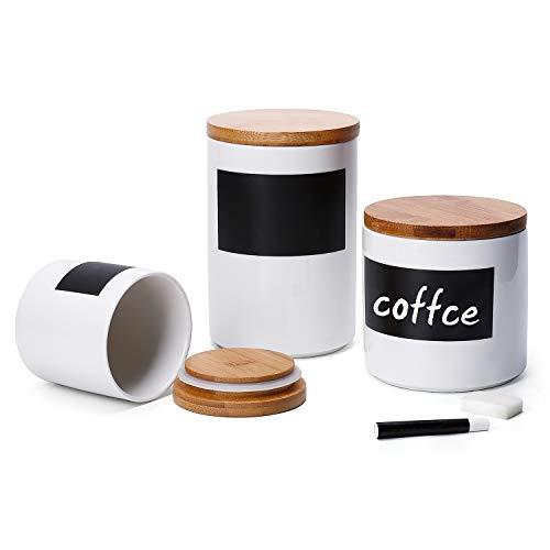 Sweese 804.101 Vorratsdosen Keramik mit Bambusdeckel, Memo für Kreidebeschriftung, 3er Set -