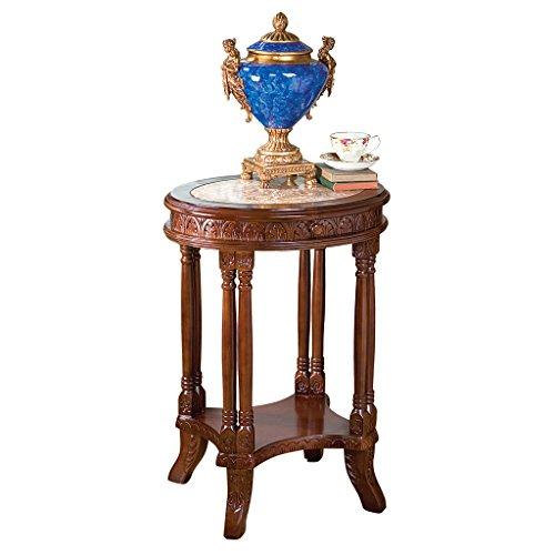 Design toscano ae1522 tavolo con colonne intarsiato balfour, marrone, 42x52x51 cm