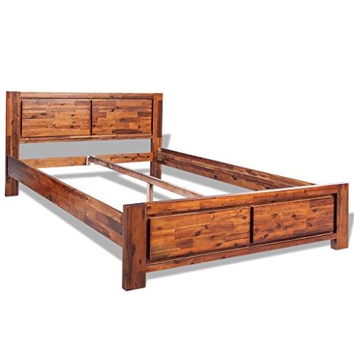 vidaXL Bettgestell Doppelbett Bettrahmen Bett Akazie Massiv Braun 140 x 200 cm
