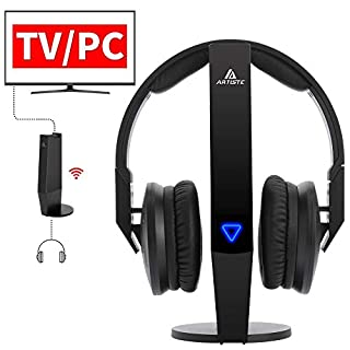 ARTISTE ADH500 Wireless Headphones for TV, 2.4 GHz Wireless Digital TV Headphones with Transmitter (RCA, 3.5 mm AUX) No Delay, 100 ft/ 30 m Long Range, Rechargeable Batteries