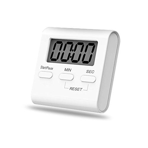 iitrust Digitaler Küchentimer Magnetische Stoppuhr Eieruhr, Countdown Küchentimer mit Großem LCD Display, Lautem Alarm & Einklappbarem Ständer, Kurzzeitmesser Küchenuhr für Küche, Sport, Spiel (Weiß)