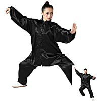 zooboo Unisex Seda de Corea del Sur Uniforme de Tai Chi Kung Fu trajes, color Negro - negro, tamaño large