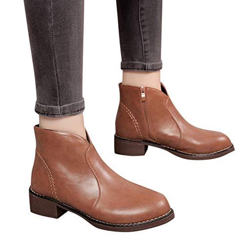 Preisvergleich Produktbild TianWlio Damen Stiefel Stiefeletten Frauen Mode Solides Leder Mittelreißverschluss Dicke Martin Stiefel Runde Zehe Schuhe