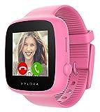 XPLORA GO - Teléfono reloj para niños (SIM no incluida) - Llamadas, mensajes, modo colegio, botón SOS, localizador GPS, cámara y podómetro - Incluye 2 años de garantía (ROSA)