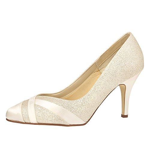 Sposa scarpe, un'altezza tempo scarpe, Mila 37 Rainbow Club Satin Fine Glitter/soft Bliss 8,0 cm colore avorio