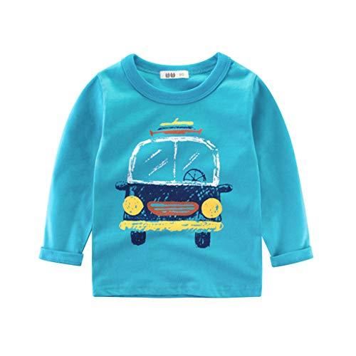 JAGETRADE Kinder Jungen Frühling Herbst Langarm T-Shirt, Baumwolle Warme Rundhals Pullover Tops Bunte Cartoon Auto LKW Gedruckt Sweatshirt 3-8 T Blau 100