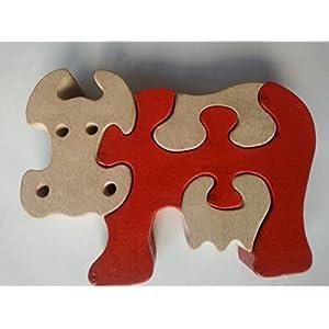 Holz puzzle Kuh handgemachte Rinderfarm Tier Geschenk für Kinder massiv Buchenholz Spielzeug