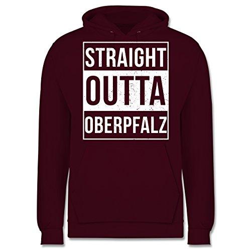 Oberpfalz Männer - Straight Outta Oberpfalz Weiss - JH001 Herren Kapuzen Pullover Burgundrot