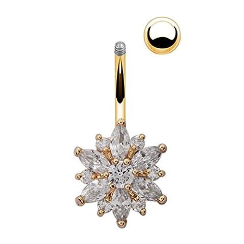 Zhichengbosi Belle Fleur Oxyde de Zirconium Barre de nombril Barbell Nombril Body Piercing Bijoux blanc