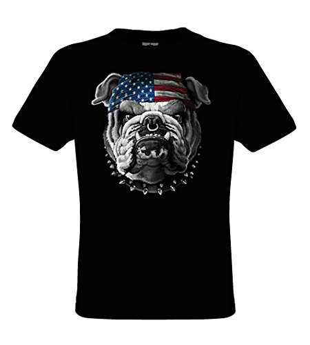 DarkArt-Designs American Bulldog - Hunde T-Shirt für Kinder und Erwachsene - Tiermotiv Shirt Wildlife Lifestyle Regular Fit, Größe XL, Schwarz (Schwarz Hund T-shirt Erwachsene)