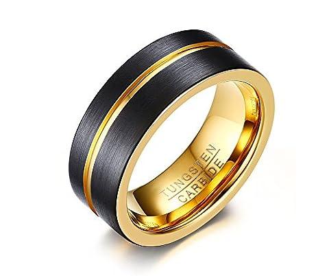 Vnox 8mm Herren Wolframkarbid Hochzeits Band Nut Schwarz glatter Gesichts Ring,Gold nach innen