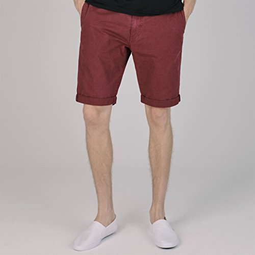 SoulCal Deluxe Herren Chino Shorts Kurze Hose Baumwolle Umgeschlagen Saum Burgund Large Deluxe Washed Chino