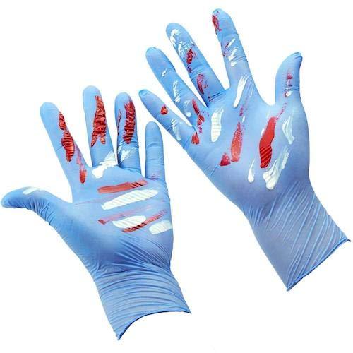 Kinder Nitril Einweg Handschuhe für 7–14Jahren Studenten–puderfrei, latexfrei, geruchlos, Lebensmittelqualität, Allergie frei, strukturierte finger- 4Mil 100Blau
