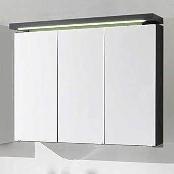 Frisch Badezimmer Spiegelschrank mit LED Beleuchtung Anthrazit Pharao24  HZ07
