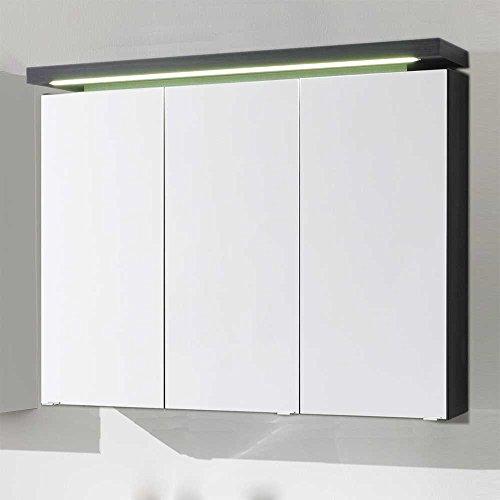 #Badezimmer Spiegelschrank mit LED Beleuchtung Anthrazit Pharao24#