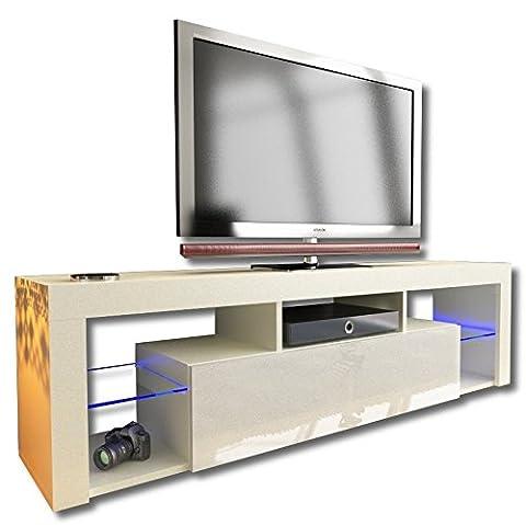 Nouveau. Superbe unité de support TV cabinet 160cm + Noir ou blanc + Mat avec Acrylique brillant Porte + flottant/debout + LED avec