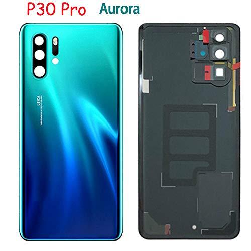 """Soliocial Cache Batterie Couvercle en Verre Arrière + Lentille Caméra pour Huawei P30 Pro VOG-L04 6.47"""" Aurora Bleu"""