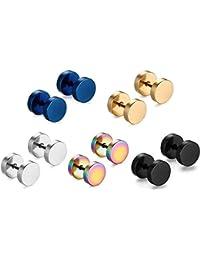 5 paires de couleurs assorties hommes femmes titane acier mode goujon boucles d'oreilles hypoallergéniques piercing bijoux 8mm de diamètre