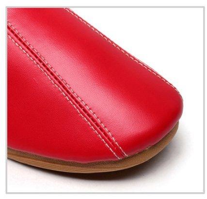 TELLW Pantoufles en Cuir D'Hiver Femmes Hommes Intérieur Pantoufles en Peluche Vin rouge