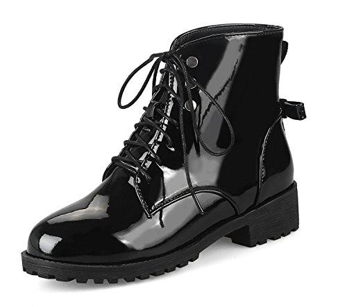 Honeystore Damen Stiefeletten Lack | Worker Boots Schnürer | Grunge Punk Schuhe | Leder-Optik Schnallen | Schnürstiefeletten Schwarz 39CN