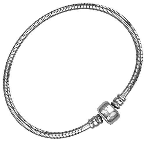 Charm Armband für Frauen & Mädchen, Bonus Schmuckbeutel, Stahl Schlange Kette Armbänder, passend für Pandora Charms. Barrel Snap Verschluss, 18 cm (7 inch)