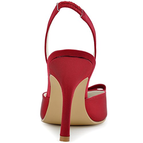Elegantpark HC1404 bout pointu arc bride arrière Escarpins Femmes sandale Satin Chaussures de mariée Bourgogne