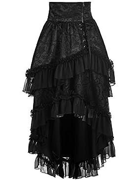 Punk Rave PYON Gótico Lolita Falda Negro Largo Steampunk Encaje de flores Victoriano