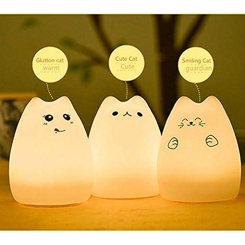 YOEEKU LED Multicolor de Silicona Portátil de luz de la Noche USB Animal Recargables para niños lámpara de la noche con el blanco cálido y 7 colores dormitorio duales de respiración modos de luz Sensible a la Luz Dormitorio Tap Control de la Lámpara del Cuarto de niños (gato de la suerte)