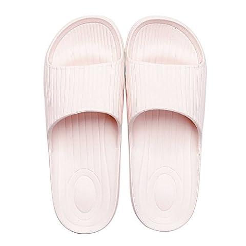 à enfiler Chaussons Antidérapant Douche Sandales Maison Mule doux mousse Semelle Chaussures de piscine de salle de bain Glissière pour adulte, rose, uk 4.5-5(outsole 9.4