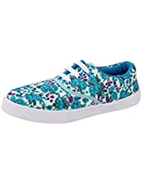 Fashionable Casual Women Sneakers With PVC Sole - Floral Print Lace-ups - Women Shoes