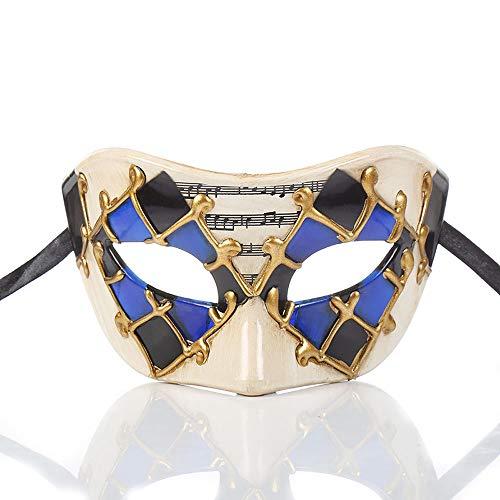 YCWY Vintage venezianischen Maskerade Masken, handgemachte Gold venezianischen Party Kostüm Maske Halloween Cosplay Maske für Ball Prom,Blue